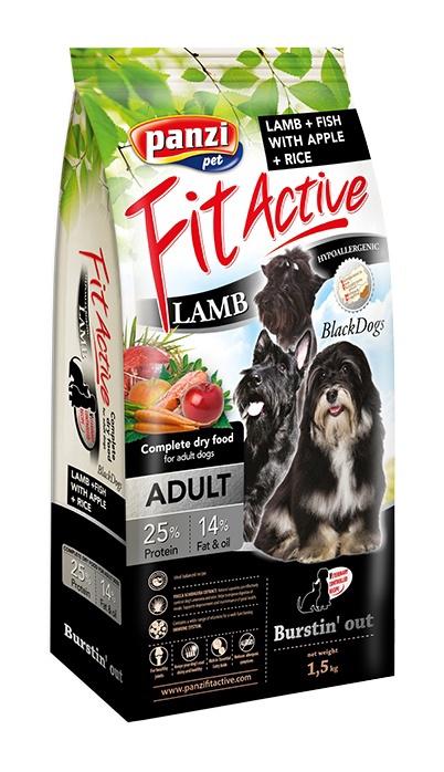 Panzi FitActive Hypoallergenic Adult Black Dogs Lamb & Fish 1.5kg