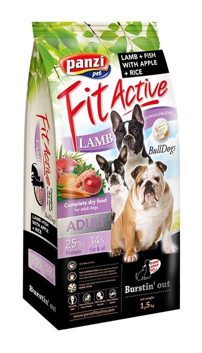 Sausas ėdalas šunims Fit Active Bulldogs, su ėriena ir vištiena, 1.5 kg