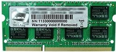 Operatīvā atmiņa (RAM) G.SKILL F3-12800CL11S-4GBSQ DDR3 (SO-DIMM) 4 GB
