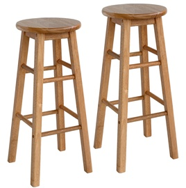 Home4you Promo Bar Stool D30xH74cm Brown 2pcs
