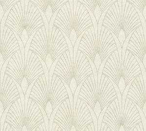 Flizelino pagrindo tapetas As Creation 37427  New Wall kreminis su pilkais ornamentais