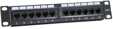 Digitalbox UTP CAT 6 Patch Panel 12-Port Black