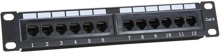 Digitalbox UTP CAT 6 Patch Panel 12-Port Black