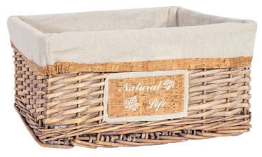 Home4you Willi Cork Basket L 48x38xH22cm Light Brown