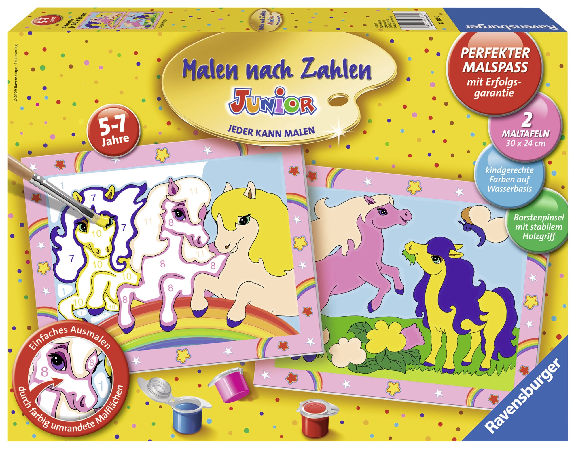 1a Farben.Ravensburger Painting By Numbers Ponie 2pcs 277230
