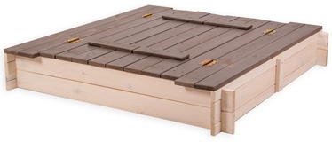 Smėlio dėžė Folkland Timber White/Graphite, 120x120 cm, su dangčiu