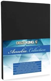 Palags DecoKing Amelia Black, 160x200 cm, ar gumiju