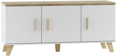TV galds Cama Meble Lotta 150 3D White/Sonoma Oak, 1500x450x690 mm