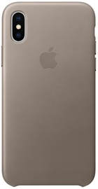 Apple Leather Back Case For Apple iPhone X Taupe