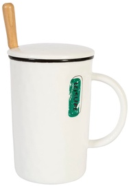 Home4you Mug With Spoon And Lid Leisure 400ml White