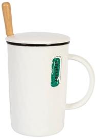 Home4you Mug With Spoon And Lid Leisure 400ml White