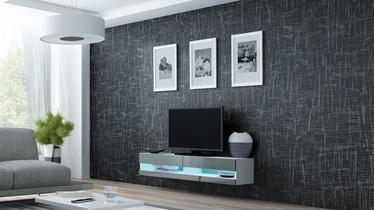 TV staliukas Cama Meble Vigo New 140 White/Grey Gloss, 1400x300x1400 mm