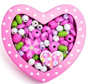 Woody Small Pink Heart Didactic Beads 90214