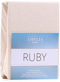 AmeliaHome Ruby Frote Bedsheet 140-160x200 Light Beige 08