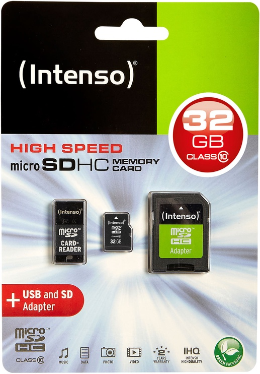 Intenso 32GB MicroSDHC Class 10 + Adapter Set 3413780