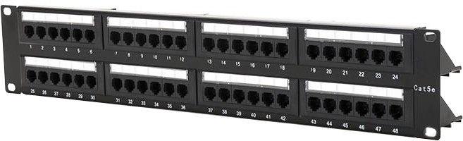 "Digitalbox Patch Panel 19"" 1U 48-port w/ Cable Management"