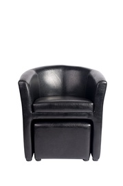 Eko odos fotelis su pufu, juodas