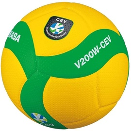 Mikasa V200W CEV Volleyball Yellow/Green Size 5