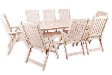 Folkland Timber Folding Garden Set Bavaria 8 White