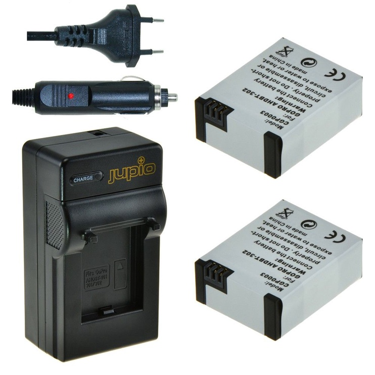 Jupio 2x GoPro AHDBT-302 HERO3+ 1200 mAh + GoPro Charger