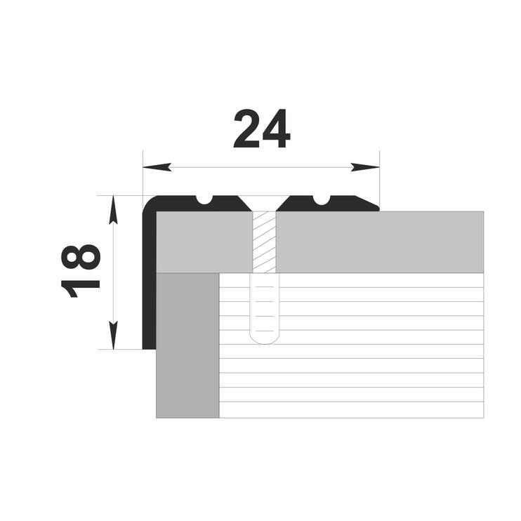 Kāpņu leņķis Grace Stair Nosing Silver D3 1.8m