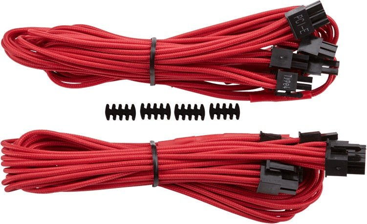 Corsair Premium Individually Sleeved PCIe Cables with Dual Connectors, Type 4 (Gen 3) Red