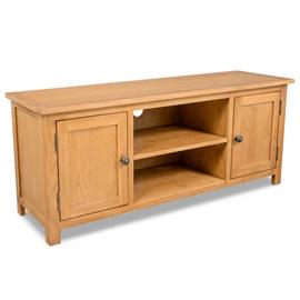 TV galds VLX Solid Oak Wood 244467, brūna, 1200 mm x 300 mm x 480 mm