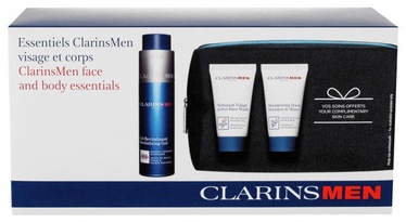 Clarins Men Revitalizing Gel 50ml + 30ml Active Face Wash + 30ml Shampoo & Shower + Bag