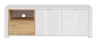 TV staliukas Black Red White Modesto Oak/White, 1475x500x505 mm