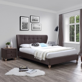 Home4you Victoria Bed w/ Mattress Harmony Duo 160x200cm Brown