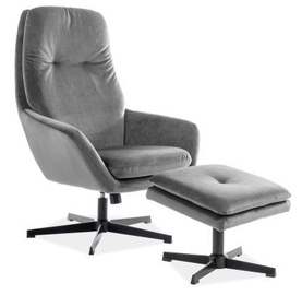 Signal Meble Ford Velvet Chair With Footrest Grey