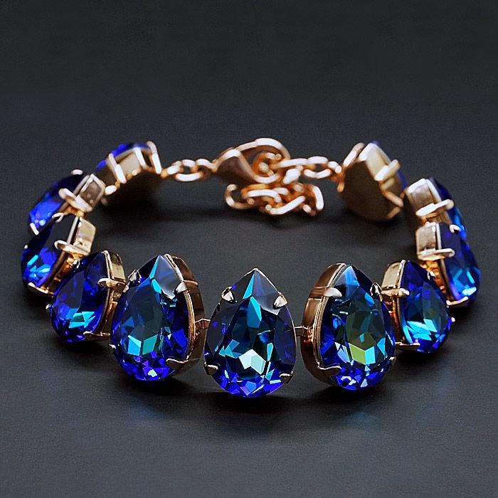 Diamond Sky Bracelet Crystal Drop Bermuda Blue With Crystals From Swarovski