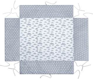 Lulando Playpen Mat For Children Grey With Stars/White With Grey Clouds 75x100cm