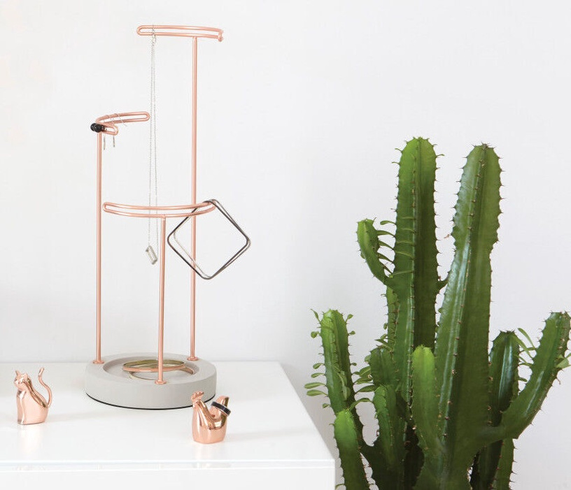 Umbra Tesora Jewelry Stand Concrete-Copper