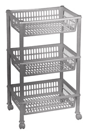 Plast Team Eco Trolley With 3 Baskets 39.4x29x16.5/68.5cm Grey