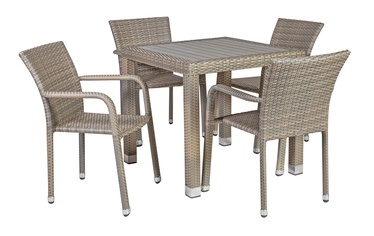 Home4you Larache K21040 Table And Four Chair Set Grey