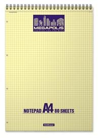 ErichKrause Wirebound Notepad Megapolis Yellow Concept 80 Sheets A4