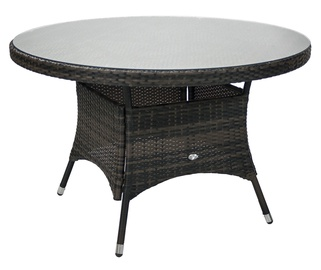 Home4you Wicker Table 120x76cm Dark Brown