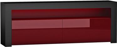 TV staliukas Pro Meble Milano 157 Black/Red, 1575x350x500 mm