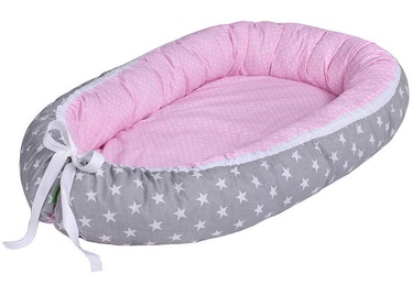 Lulando Multifunctional Baby Nest Grey With White Stars/Pink With Dots