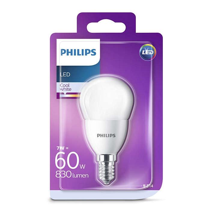 Spuldze led Philips P48, 7W, E14, 4000K, 830lm