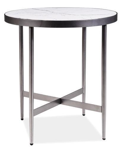 Kafijas galdiņš Signal Meble Modern Dolores C, balta/pelēka, 500x500x550 mm