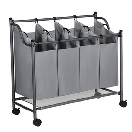 Songmics Laundry Cart 4 Bag Grey