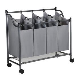 Корзина для белья Songmics Laundry Cart 4 Bag Grey