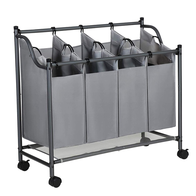 Songmics Laundry Cart 4 Bag Grey