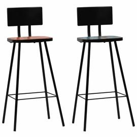 Барный стул VLX Solid Reclaimed Wood 245392, многоцветный, 2 шт.