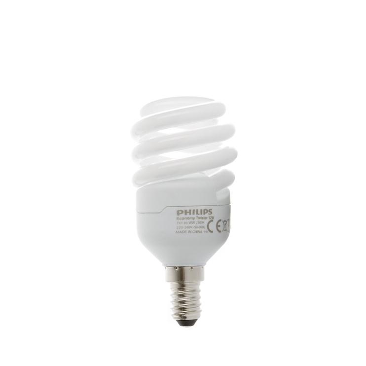 Kompaktinė liuminescencinė lempa Philips T3, 12W, E14, 2700K, 656lm