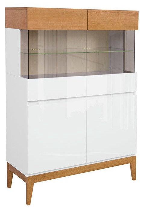 Black Red White Kioto Glass Cabinet Natural Oak/White