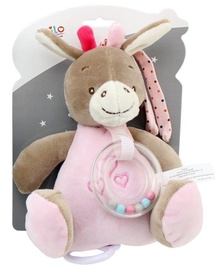 Axiom New Baby Donkey Music Box With Rattle Pink 18cm 4950e