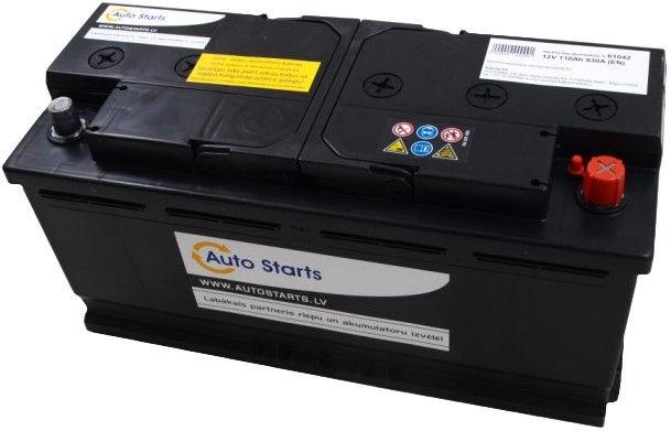 Аккумулятор Auto Starts, 12 В, 110 Ач, 930 а
